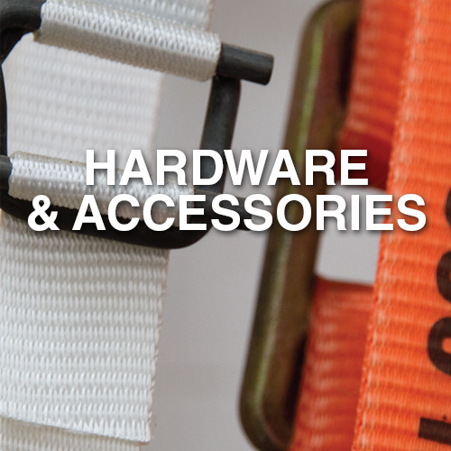 Narrowtex lashing and strapping hardware and accessories